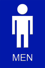 "Mens Bathroom Sign 12"" x 8"" High Gloss Aluminum"