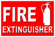 "Fire Extinguisher Sign 12"" x 8"" High Gloss Aluminum"