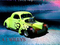 "1941 Willys Hot Rod Art on 8"" x 12""Aluminum Panel"