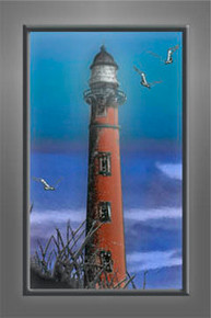 """Lighthouse Pointe"" Watercolor Fine Art Quality Metal Print"