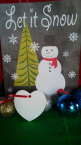 Christmas Heart Ornaments TWO SIDED WHITE Aluminum Dye Sublimation Blanks$0.85ea