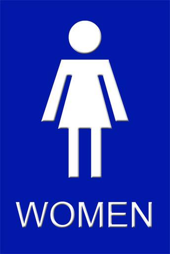 "Ladies Bathroom: Womens Bathroom Sign 12"" X 8"" High Gloss Aluminum"