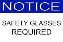"""Safety Glasses Required Sign 12"""" x 8"""" High Gloss Aluminum"""