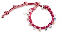 Pinky:  Swarovski Crystals + Pink Leather Bracelet