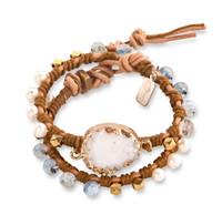 Amara:  Druzy + Aquamarine + Pearl Wrap Bracelet