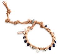 Jamila:  Lapis + Sterling Silver Beads + Freshwater Pearl Bracelet
