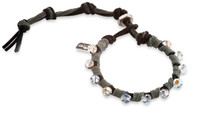 Cora: Swarovski Crystals + Suede + Leather Cord Bracelet