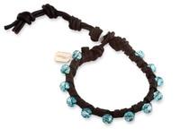 Mariana: Turquoise Swarovski Crystals  + Leather Bracelet
