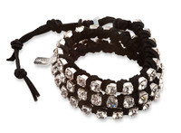 Charlotte: Rhinestones + Leather Wrap Bracelet