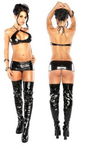 Halter Mini Skirt & G Black S/M(LIQUID ONYX)