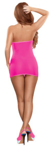 MESH TUBE DRESS & G-STRING PINK O/S (NEON ACCESSORY)