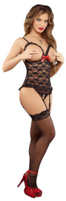 CUPLESS CROTCHLESS TEDDY BLACK L/XL (LUV LACE)