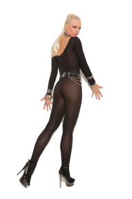 SHEER LONG SLEEVE BODY STOCKING QUEEN