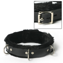 STRICT LEATHER COLLAR FUR LINED 1IN WIDE