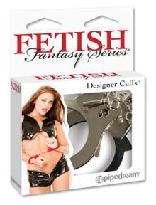FETISH FANTASY DESIGNER SILVER METAL HANDCUFFS