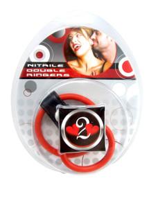 H2H COCK RING DBL RINGER NITRILE RED