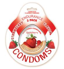 ENDURANCE FLAVORED 3PK CONDOMS-STRAW
