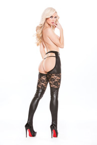 KITTEN & WET LOOK GARTER TIGHTS O/S