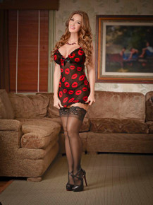 CHEMISE & G STRING SET LIPS LARGE