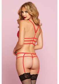 FEATHER GALLOON BRA SET RED O/S