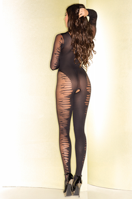 SHEER OPEN CROTCH LONG SLEEVE FLAME BODYSTOCKING W/PLUNGING NECKLINE O/S