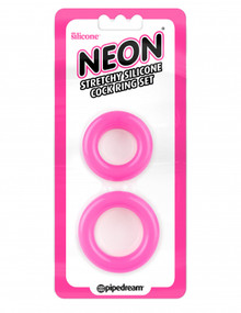 NEON STRETCHY SILICONE COCK RING SET PINK