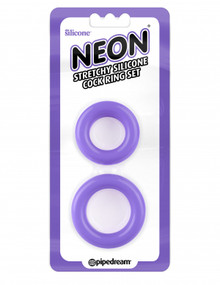 NEON STRETCHY SILICONE COCK RING SET PURPLE