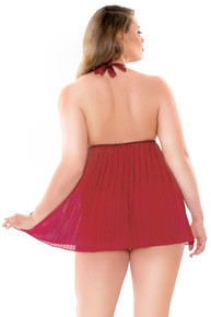 VALERIE PLEATED BABYDOLL & G STRING RED 1X2X
