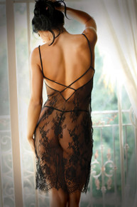 FORBIDDEN LOVE LACE SLIP DRESS BLACK O/S
