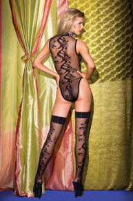 (D) TEDDY 2PC W/JACQUARD SWIRL PATTERN & MATCHING STOCKINGS QUEEN SIZE
