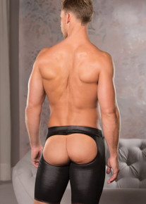 ZEUS WET LOOK OPEN BACK BIKE SHORTS S/M