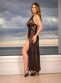 KEYHOLE CUT OUT GOWN & G STRING SET LARGE