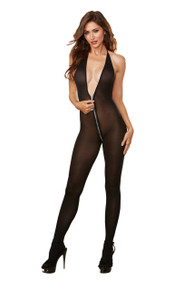 SHEER ZIPPER BODY STOCKING BLACK O/S