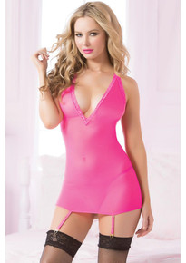 FISHNET & LACE CHEMISE & THONG SET HOT PINK O/S