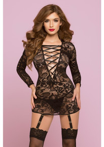 LACE CHEMISE W/GARTERS & THONG BLACK O/S