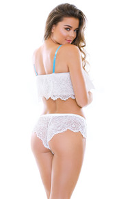 ROBYN LACE TOP & SHORTIE SET WHITE BABY/BLUE S/M