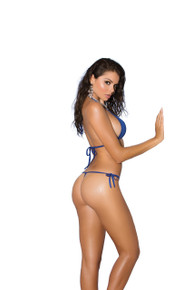 BIKINI 2PC SWIMWEAR SET O/S ROYAL BLUE/RHINESTONE