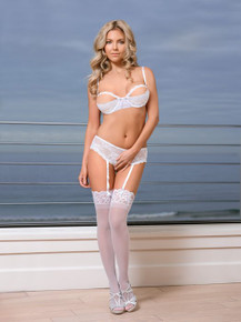 BRA & CROTCHLESS PANTY WHITE WHITE MEDIUM