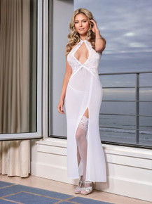 KEYHOLE GOWN & GSTRING WHITE WHITE LARGE