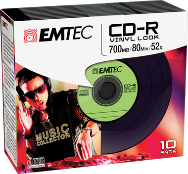EMTEC CD-R Vinyl Look (Green) - 10 Pack