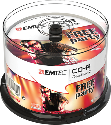 EMTEC CD-R: Free Party - CD Disc Recordable 700MB 52x Cake Case (50 Pack)