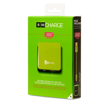 Recharge 2500 Battery Powered Ultimate Portable USB Charger - Green