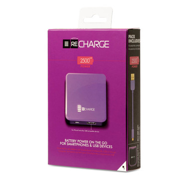 Recharge 2500 Battery Powered Ultimate Portable USB Charger - Purple