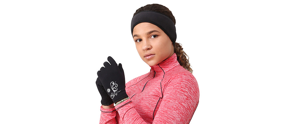 Power Stretch Women's Running Gloves - black & Women's Ponytail Headband - black / black