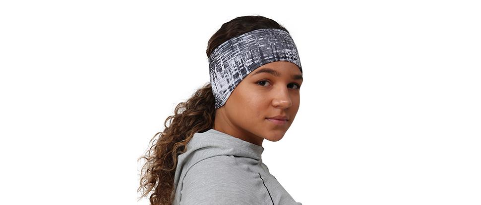 TrailHeads Women's Print Ponytail Headband – 12 prints - Made in USA - grey matrix