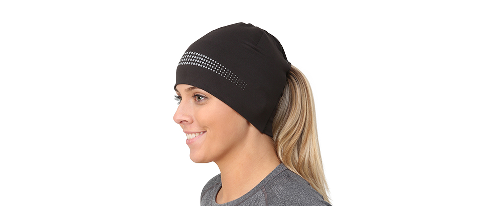 Adrenaline Series Women's Performance Ponytail Beanie/Skull Cap - black/reflective