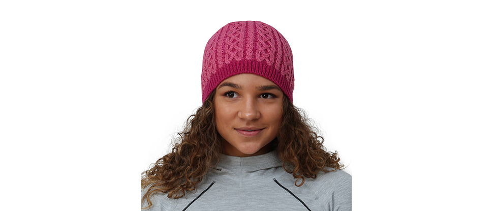 TrailHeads Cable Knit Women's Winter Beanie - light rose / raspberry