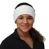 TrailHeads Cable Knit Ponytail Headband - wintry white
