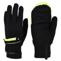 TrailHeads Convertible Running Gloves - black / hi-vis