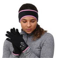 TrailHeads Women's Ponytail Headband & Power Stretch Touch Screen Running Gloves Gift Set - black/fast pink